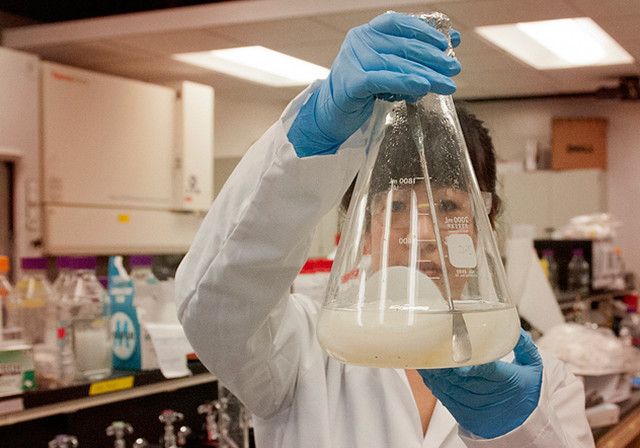 woman holding a beaker in a science lab